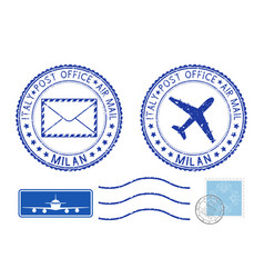 Postmarks milan and stamps blue postal elements vector