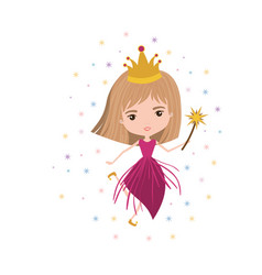 Princess fairy with crown and magic wand and vector