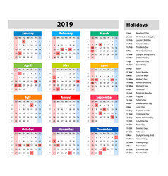 public holidays for the usa calendar 2019 vector image