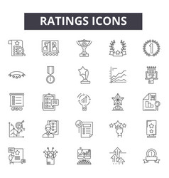 ratings line icons signs set outline vector image