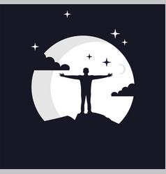 Reach dreams logo with moon symbol vector