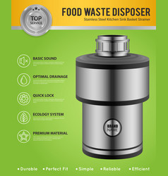 Realistic food waste disposer poster vector