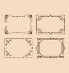 Rectangular borders with curved elements and lines vector