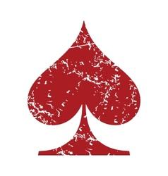 Red grunge spades card logo vector image