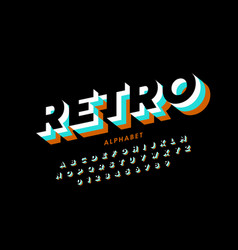 Retro style font vector