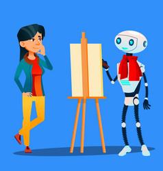 robot artist paints on easel portrait of woman vector image