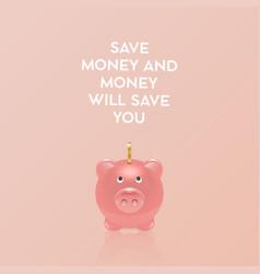 save money concept realistic 3d pink retro vector image