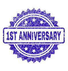 Scratched 1st anniversary stamp seal vector