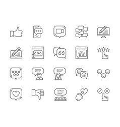 set feedback line icons chat dislike like vector image