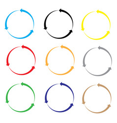 Set of arrow color on white background set of vector