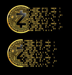 Set of crypto currency zcash golden symbols vector