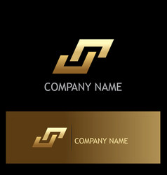 Shape gold letter s square logo vector
