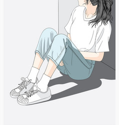 She has a lonely and sad mood waiting for someone vector