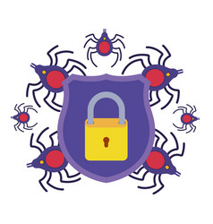 Shield with star and spider isolated icons vector