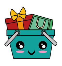 Shopping basket with gift and bag kawaii character vector