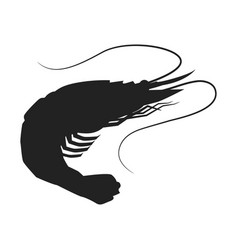Shrimp icon shrimp silhouette isolated vector
