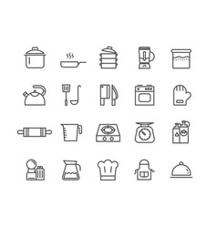 Simple set of kitchen tools thin line icons vector