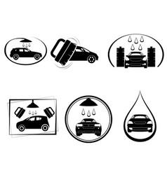 Six car wash logos vector