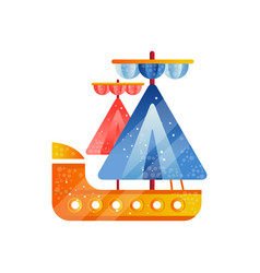 small sailing ship with blue and red sails flat vector image
