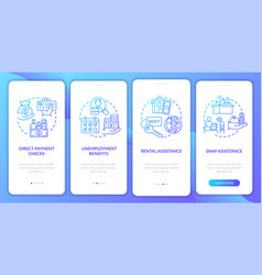 Snap assistance onboarding mobile app page screen vector