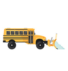 Snow plow school bus in flat style on white vector