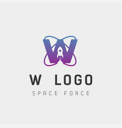 Space force logo design w initial galaxy rocket vector
