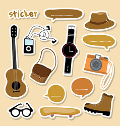 sticker object boy smart camera guitar shoe skateb vector image