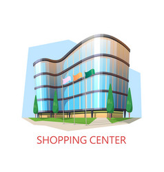 supermarket building shopping center modern mall vector image