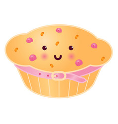 sweet cupcake with berries vector image