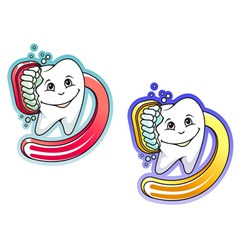 Toothbrush and paste in cartoon style vector image vector image