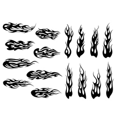 Tribal black fire flames tattoo design vector image