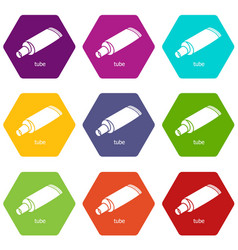 tube icons set 9 vector image