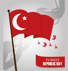 turkey republic day waving flag in pole and birds vector image