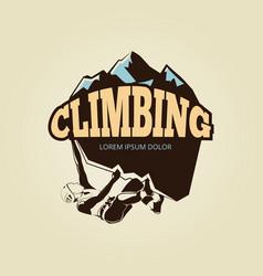 vintage mountain climbling logo with person vector image