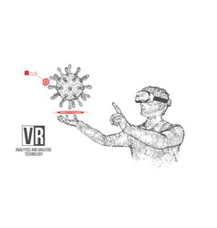 Vr wireframe headset man with virus banner vector