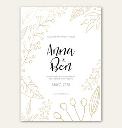 Wedding invitation with golden flowers vector