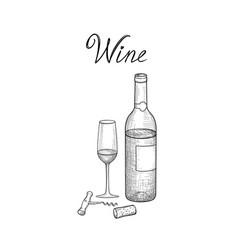 wine set wine glass bottle corkscrew wine stopper vector image
