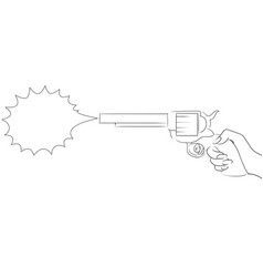 With the contour of a female hand with a gun with vector
