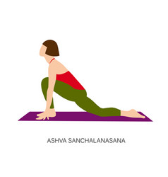 woman in ashva sanchalanasana or rider pose vector image