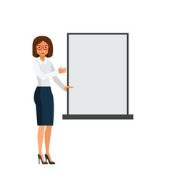 woman showing blank board cartoon flat vector image
