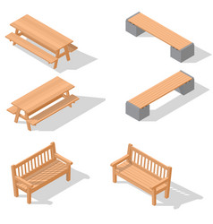 wooden benches and a table vector image