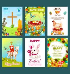 easter holidays cartoon greeting card set vector image