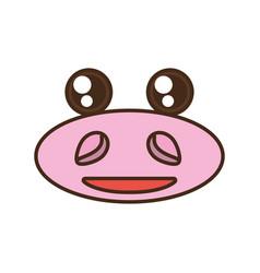 Kawaii hippo cute face animal vector