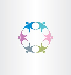 people teamwork circle icon vector image