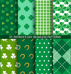 set of abstract shamrock seamless patterns for st vector image vector image
