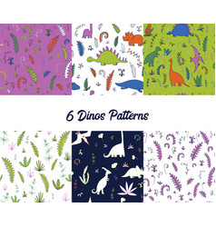 set of seamless pattern with dinosaurs vector image