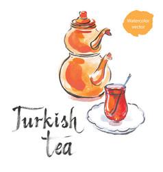 Turkish tea with turkish kettle vector