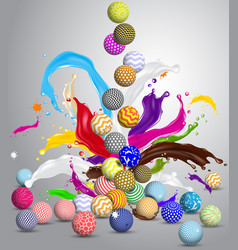 abstract multicolor balls and splashes vector image