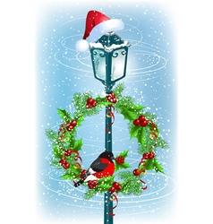 Christmas lantern with Santa Claus hat vector image vector image