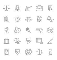 law and lawyer signs black thin line icon set vector image